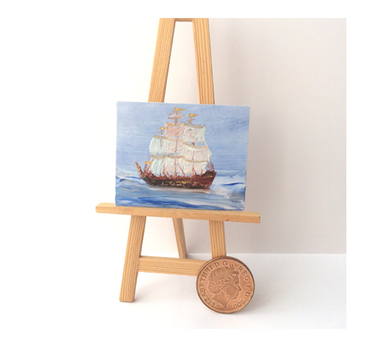 Tall ship miniature seascape painting