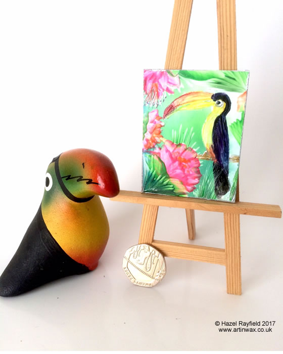 Toucan miniature dollhouse painting