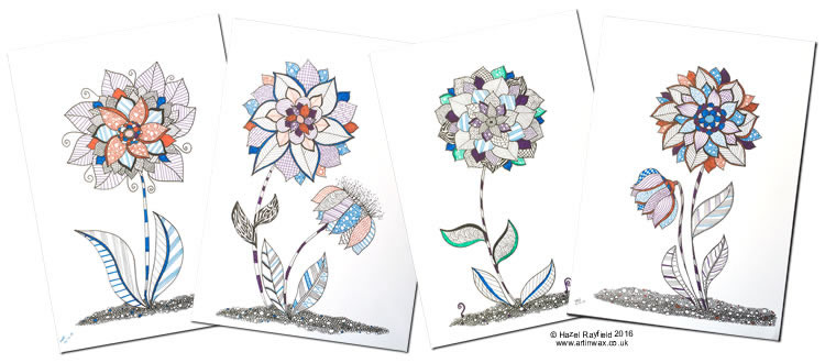 fantasy flower zentangle ink drawings